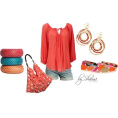 Coral summer fun, created by shauna-rogers on Polyvore