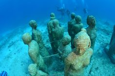 Cancun and Isla Mujeres Underwater Art Museum in Mexico Jesus Etc, The Places Youll Go, Places To Go, Underwater Art, Snorkelling, Adventure Is Out There, Science And Nature, Cancun, Scuba Diving