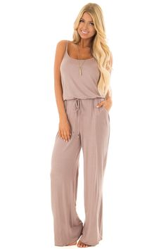 440737a07644 Lime Lush Boutique - Taupe Sleeveless Jumpsuit with Waist Tie and Front  Pockets