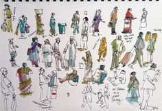 Sketches of people seen at Victoria Terminus Station, Bombay, India, by Suhita Shirodkar.