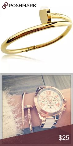 Gold Nail Bangle Gold Nail Bangle with open clasp fits beautifully looks gorgeous on with any outfit to give your look a sleek classic edge. Jewelry Bracelets