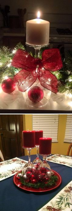 Wine Glass Candle Holder.