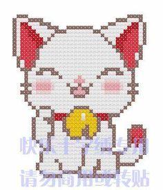 Lucky Cat perler bead pattern
