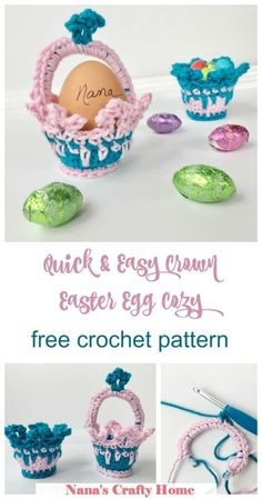 The Crown Easter Egg Cozy is a free crochet pattern for an egg cozy or party favor that works up so quickly!  Perfect for your Easter holiday table decor or a Princess Party theme!  #nanascraftyhome #eastercrochet Holiday Crochet Patterns, Crochet Patterns For Beginners, Crochet Ideas, Pattern Quotes, Princess Party Favors, Pink Sparkles, Easter Baskets, Craft Fairs, Free Crochet