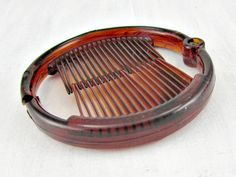 Vintage Hair Bun Holder Ponytail Faux Tortoise Shell Comb Brown