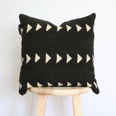 Gift for her, nursery pillow, crib pillow, baby shower gift, newborn gift, baby gift, kids room, kids room pillow, little boy pillow, little girl pillow, toddler pillow  Black African Mudcloth Pillow Cover, gift for her, boho, mud cloth, vintage, ethnic, textile, 18 x 18  Authentic African Mudcloth or Bogolanfini is hand loomed from cotton and dyed with fermented mud by the Bambara tribe in Mali, West Africa.  5% of every sale goes to support Morning Star Children's Home orphanage and…