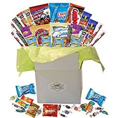Snack Gift Basket Care Package with Sweet and Salty Snacks 26 Count Plus Bonus Candy  - great Valentine's Day gift idea for him