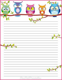 beautiful owl lined page insert for planner ideas Printable Lined Paper, Free Printable Stationery, Owl Crafts, Paper Crafts, Goodnotes 4, Theme Harry Potter, Owl Always Love You, Stationery Paper, Note Paper