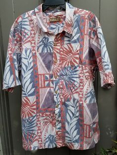 "KAHALA™ 1936 Men's Hawaiian 100% Cotton Camp Shirt - Pink & White - 2XL 28"" P2P 