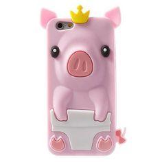 """Coque Cochon Pig couronné en silicone pour iPhone 6 et 6S (4,7"""") - Coques-iPhone.com"""