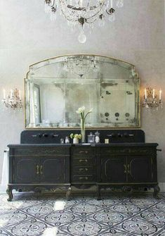 Seeking ideas for your bathroom design? STOP RIGHT HERE for Antique Vintage Style Bathroom Vanity Inspiration and photos of lovely interior design bliss. Estilo Hollywood Regency, Bathroom Inspiration, Design Inspiration, Bathroom Ideas, Design Ideas, Bathroom Interior, Bathroom Renovations, Bathroom Colors, Bathroom Designs