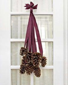 Pine Cone Door Decor - http://www.sweetpaulmag.com/crafts/pine-cone-door-decor #sweetpaul