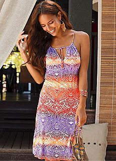 Ethnic Printed Tie Front Beach Dress by Buffalo London