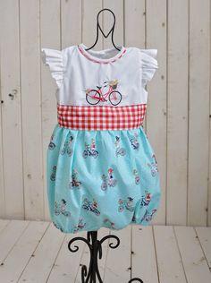 dffad4d8e8d Bicycle romper. 24 months bubblesuit. Baby girls bubblesuit. Embroidered  romper. Bicycle print