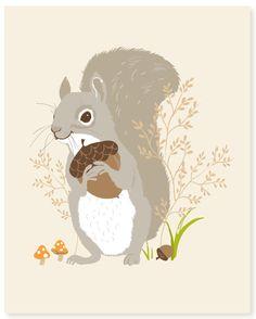 squirrel - woodland art print 8x10. $15.00, via Etsy. seaurchin studio