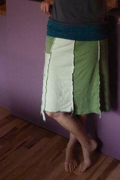 Upcycled tee shirt skirt. #recycled #serged #serger #lusa #organics #clean