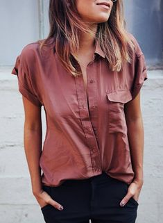 Chic Women's Short Sleeve Pure Color Shirt