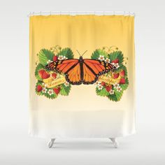 Monarch Butterfly with Strawberries Shower Curtain  by #PatriciaSheaDesigns on #Society6 FREE worldwide shipping until March 9th 2014