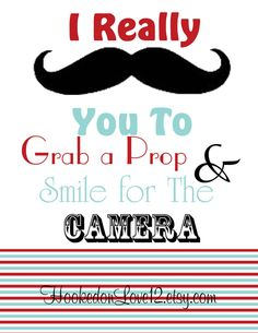 Photo Booth Signs- Mustache Theme