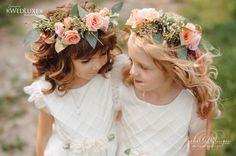 Cute flower girls with cute peach and pink floral crowns. | Rachel A. Clingen Wedding & Event Design Photo Credit @mangostudios
