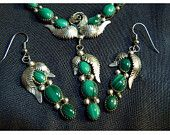Native American Sterling Silver and Malachite Necklace and Earring Set