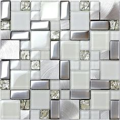Home wall white glass tile silver metal blends backsplash kitchen bath mosaics…