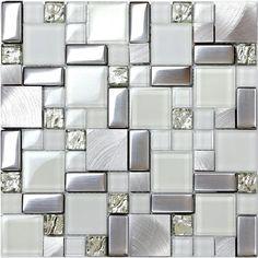 Home wall white glass tile silver metal blends backsplash kitchen bath mosaics…