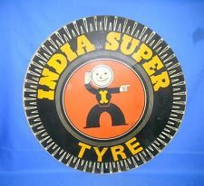 Vintage Old Collectible India Super Tyre Adv. Litho Print Tin Sign Board
