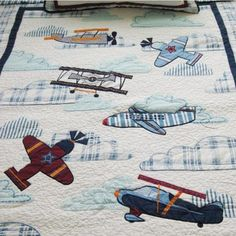 quilts in airplane fabric | Airplane Applique Patchwork Bedspread 2pcs Quilt