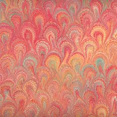 Berretti Florentine Marbled Paper - Red Peacock Pattern