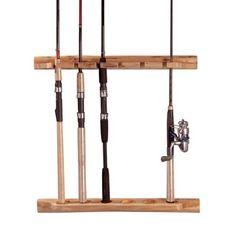 Rush Creek Creations 6 Fishing Rod Wall Storage Rack Solid Pine Rod Rack New Fishing Pole Holder, Ice Fishing Rods, Fishing Rod Storage, Pole Holders, Fishing Tips, Fishing Tackle, Fishing Stuff, Bass Fishing, Compound Hunting Bows