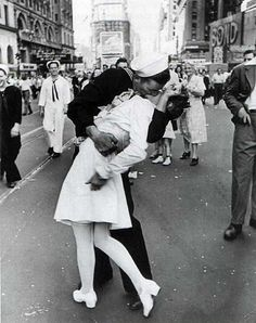 Classic. Kiss in New York after War( in a documentary I'm watching the guy doing the kissing just wanted to thank a nurse so he came up to this girl and kissed her. Funny thing is that if you look over he's shoulder you will see He's wife laughing at this seen.