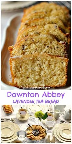 "Enjoy Downton Abbey Lavender Tea Bread (tea loaf) recipe for your next ""tea,"" along wtih pictures and stories from Highclere Castle, Hampshire, England. Lavender Tea Bread Recipe, Lavender Recipes, Just Desserts, Delicious Desserts, Dessert Recipes, Health Desserts, Tea Cakes, Food Cakes, Cupcake Cakes"