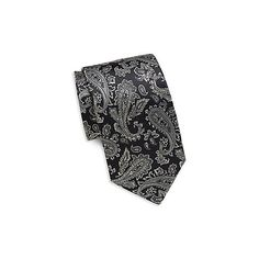 Yves Saint Laurent Paisley Printed Italian Silk Tie (3.950 RUB) ❤ liked on Polyvore featuring men's fashion, men's accessories, men's neckwear, ties and black