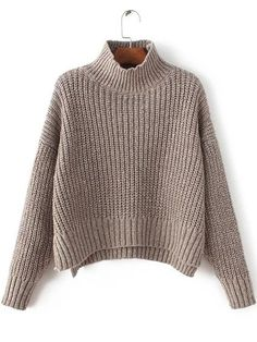 Cheap basic sweater, Buy Quality sleeve sweater directly from China long sleeve sweater Suppliers: DIDK Coffee Mock Neck Drop Shoulder Dip Hem Sweater Autumn Pullovers Long Sleeve Sweater 2017 Women' Turtleneck Basic Sweater Brown Long Sleeve Shirt, Long Sleeve Turtleneck, Long Sleeve Crop Top, Turtleneck Shirt, Pullover Rock, Pullover Outfit, Loose Sweater, Sweater And Shorts, Brown Sweater