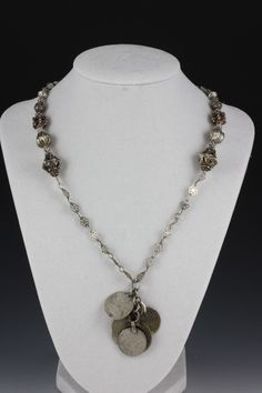 004cd66f2fd4 Antique Amethyst Bead Necklace with Antique Silver Pendant and Sri Lankan  Silver Beads - NE051