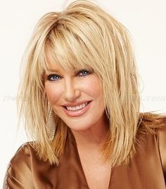 Long hairstyles over 50 . Discover ideas about Hair Styles For Women Over Haircuts Trends long hairstyles over 50 - Suzanne Somers layered haircut Discovred Longbob Hair, Layered Haircuts With Bangs, Medium Hairstyles With Bangs, Medium Hair Cuts, Medium Layered Hair, Medium Cut, Medium Long, Hair 2018, Great Hair