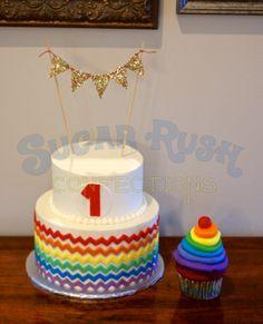 Rainbow chevron first birthday cake