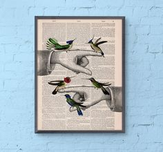 Wall art Print Hummingbirds on pointing hands - wall art illustration- giclee Print on Vintage Dictionary- Wall hanging art- BPAN111
