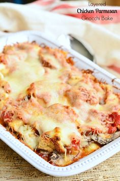 Layered Chicken Parmesan Gnocchi Bake. Comfort food and love your whole family will enjoy in every bite. | from willcookforsmiles.com