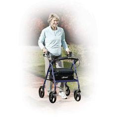 "12"" Seat Medical Walker Rollator 6"" Wheels 300 lbs Foldable Removable Backrest #12SeatMedical"