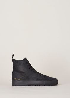 8d4322e45b5be Common Projects Waxed Suede Tournament High Lug Sneaker (Black) Common  Projects
