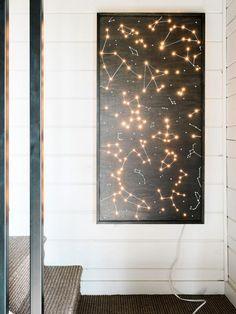 DIY: illuminated constellation wall art