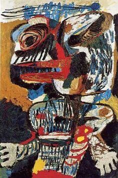 Karel Appel, (1921-2006), Cobra is een afkorting van Copenhagen, Brussel, Amsterdam. Intussen werd het werk van de Experimentele Groep in Nederland slecht ontvangen. Een christelijk maandblad, Op den uitkijk, schreef dat ze maar beter met hun werken de Kalverstraat konden gaan plaveien, of het werk in het IJ konden gooien, dan het onder de ogen te brengen van het goedburgerlijke Nederlandse volk. Niettemin exposeerde De Bijenkorf het werk van Appel, Corneille en Constant.