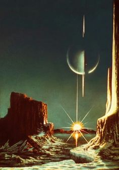 Lucien Rudaux A View of Saturn from Titan Circa 1930 Art Print Suitable for Framing Fantasy Landscape, Fantasy Art, Trippy, Rpg Cyberpunk, Timeline Images, Arte Sci Fi, Hercule, 70s Sci Fi Art, Alien Worlds