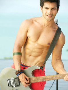 Indian film actor, Varun Dhawan shirtless...