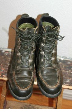 Mens VTG Browning Green Leather Moc-Toe Hunting Boots sz 7.5 D