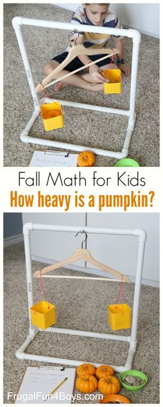 Fall Math for Kids: How Heavy is a Pumpkin? Build a PVC balance for comparing weights of objects. Fall Math for Kids: How Heavy is a Pumpkin? Build a PVC balance for comparing weights of objects. Autumn Activities For Kids, Math For Kids, Fun Math, Learning Activities, Preschool Activities, Kids Learning, Montessori Math, Kindergarten Math, Teaching Math