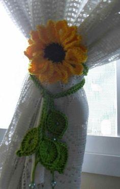 Crochet Curtain Pattern, Crochet Curtains, Crochet Cushions, Crochet Patterns, Crochet Home Decor, Crochet Art, Free Crochet, Crochet Sunflower, Crochet Flowers