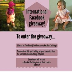 International giveaway! To enter the giveaway follow us on Facebook and tell us which item from kelakarclothing.etsy.com you would like! #giveaway #internationalgiveaway #facebookgiveaway #babyclothesgiveaway #babyclothinggiveaway #clothinggiveaway #clothesgiveaway #childrensgiveaway #toddlergiveaway #babygiveaway #KelakarClothing #etsyantwerp